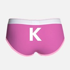 Letter K White Women's Boy Brief