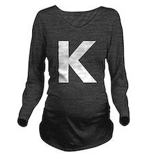 Letter K White Long Sleeve Maternity T-Shirt