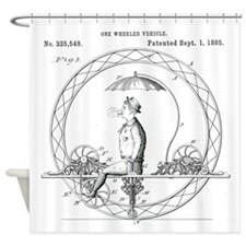 One Wheeled Vehicle Patent Shower Curtain
