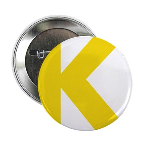 """Letter K Yellow 2.25"""" Button"""
