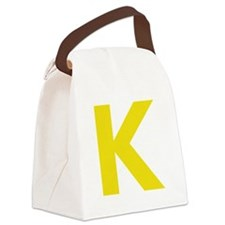 Letter K Yellow Canvas Lunch Bag