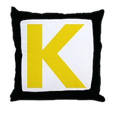 Letter K Yellow Throw Pillow