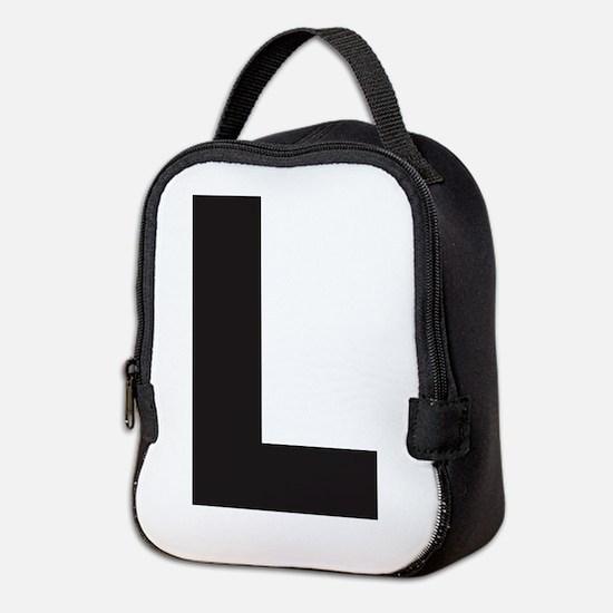Letter L Black Neoprene Lunch Bag