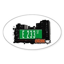 E 233 St, Bronx, NYC Oval Decal