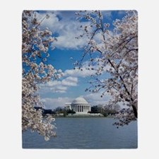 Jefferson Memorial with Cherry Bloss Throw Blanket