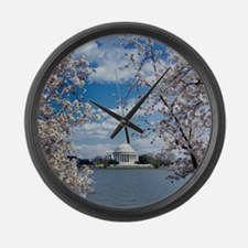 Jefferson Memorial with Cherry Bl Large Wall Clock