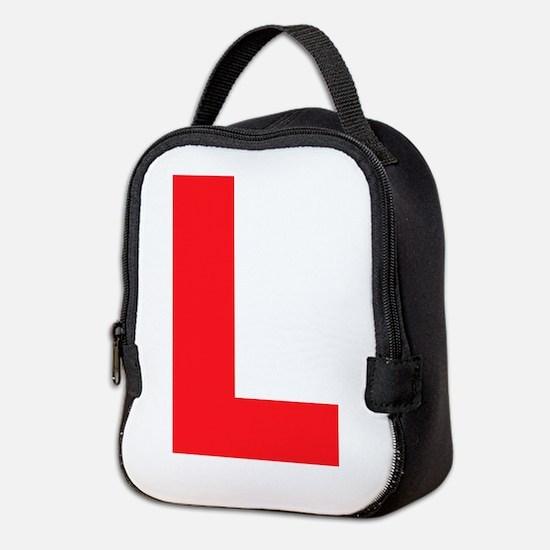 Letter L Red Neoprene Lunch Bag