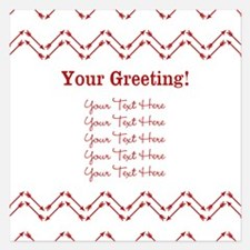 Red And White Arrow Chevron Pattern Invitations