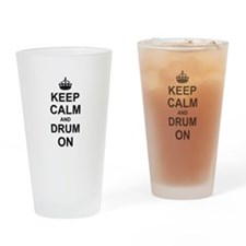 Keep Calm and Drum on Drinking Glass