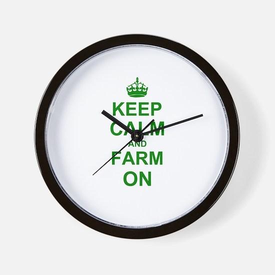 Keep calm and Farm on Wall Clock
