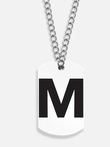 Letter M Black Dog Tags