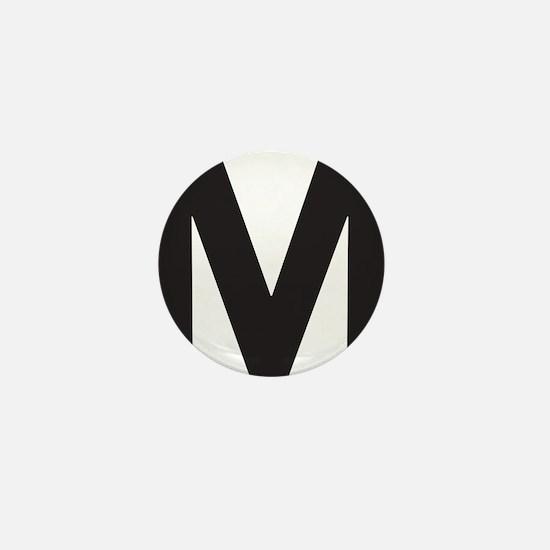 Letter M Black Mini Button