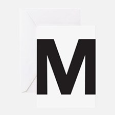 Letter M Black Greeting Cards