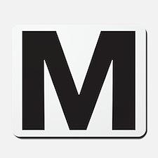 Letter M Black Mousepad