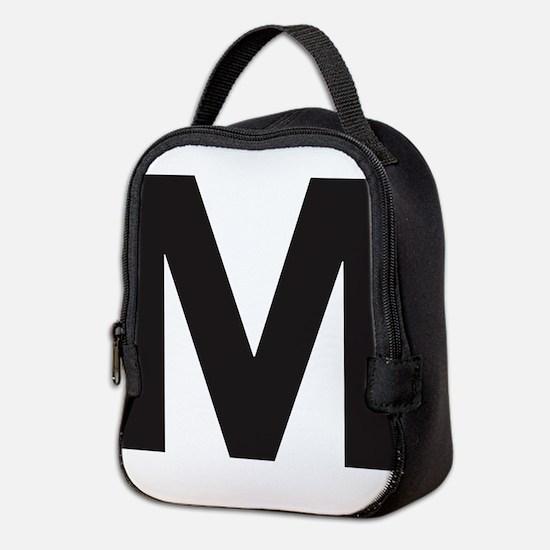 Letter M Black Neoprene Lunch Bag