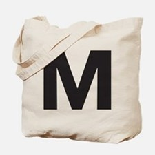 Letter M Black Tote Bag