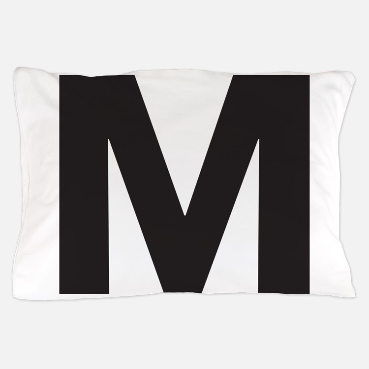 Letter M Black Pillow Case