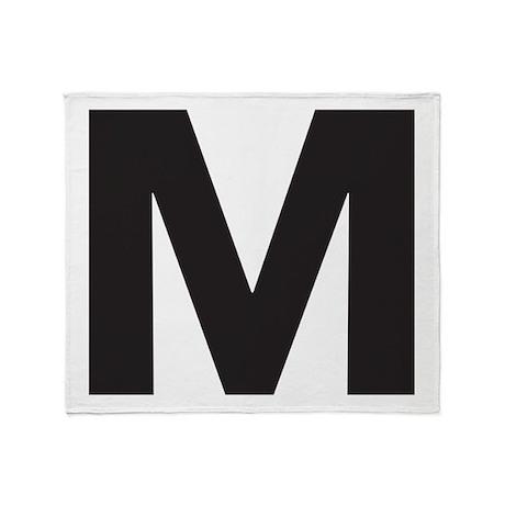 letter m black throw blanket