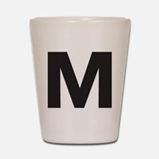 Letter M Black Shot Glass