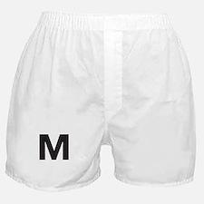 Letter M Black Boxer Shorts