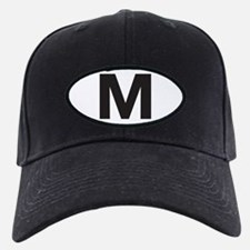 Letter M Black Baseball Hat