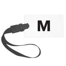 Letter M Black Luggage Tag