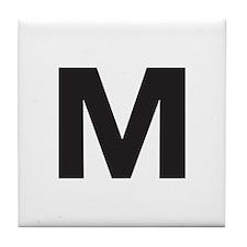 Letter M Black Tile Coaster
