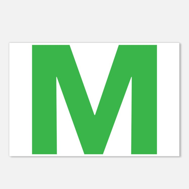 Letter M Green Postcards (Package of 8)