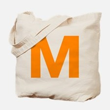 Letter M Orange Tote Bag