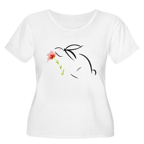 bunny& flower Women's Plus Size Scoop Neck T-Shirt