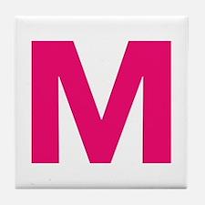 Letter M Pink Tile Coaster