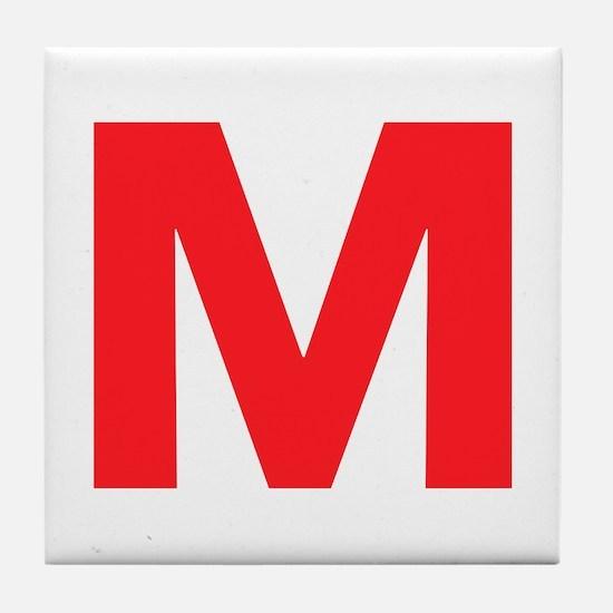 Letter M Red Tile Coaster
