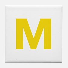 Letter M Yellow Tile Coaster