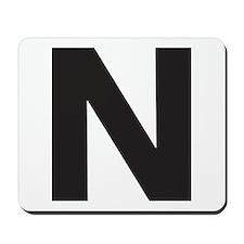 Letter N Black Mousepad