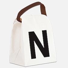 Letter N Black Canvas Lunch Bag