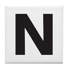 Letter N Black Tile Coaster