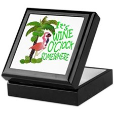 Wine O'Clock Flamingo Keepsake Box