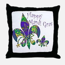 Mardi Gras Carnival Fleur de lis Throw Pillow