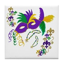 Mardi Gras Mask art Tile Coaster
