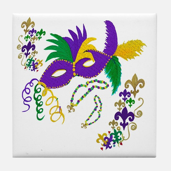 Mardi Gras Mask art Tile Coaster