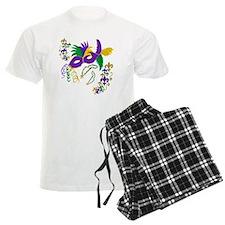 Mardi Gras Mask art Pajamas
