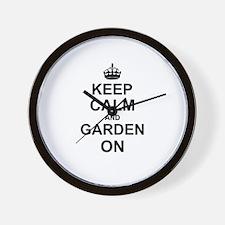 Keep Calm and Garden on Wall Clock