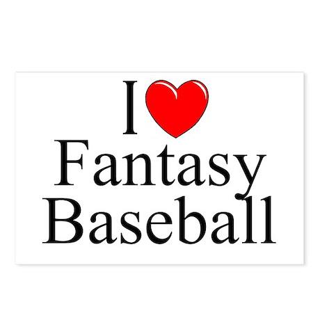 """I Love (Heart) Fantasy Baseball"" Postcards (Packa"