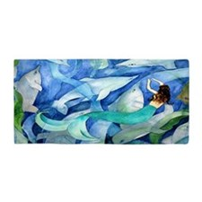 Dolphins and Mermaid Party Art Beach Towel