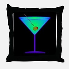 neon martini Throw Pillow