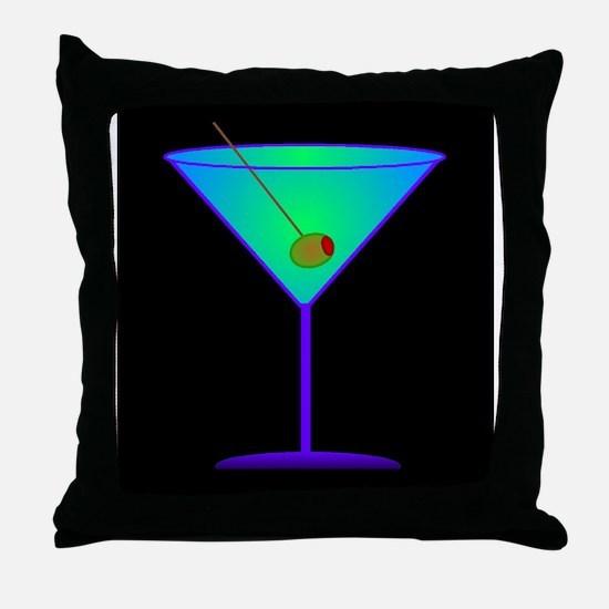 neon martini Throw Pillow