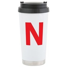 Letter N Red Travel Mug