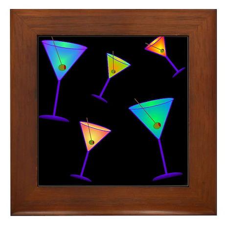 neon martinis Framed Tile