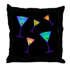 neon martinis Throw Pillow