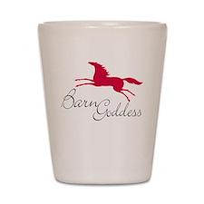 barn goddess horse red Shot Glass
